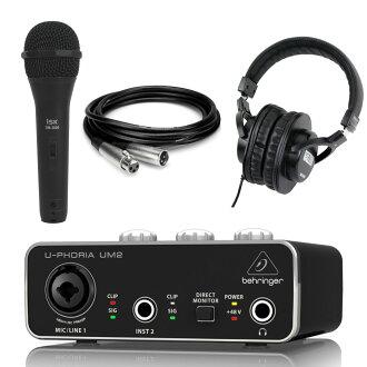 BEHRINGER UM2 U-PHORIA 오디오 인터페이스 iSK 다이나믹 마이크+Hosa MCL-110 3 m마이크 케이블+SD GAZER 헤드폰 부착 세트