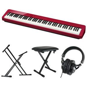 CASIO Privia PX-S1000 RED 電子ピアノ キーボードスタンド キーボードベンチ ヘッドホン 4点セット [鍵盤 Cset]