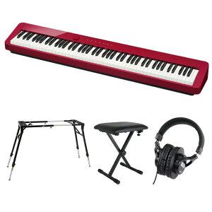 CASIO Privia PX-S1000 RED 電子ピアノ キーボードスタンド キーボードベンチ ヘッドホン 4点セット [鍵盤 Fset]