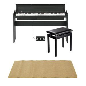 KORG LP-180 BK 電子ピアノ 高低自在椅子 ピアノマット(クリーム)付きセット