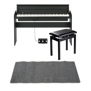 KORG LP-180 BK 電子ピアノ 高低自在椅子 ピアノマット(グレイ)付きセット