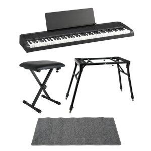 KORG B2 BK 電子ピアノ Dicon Audio 4本脚型 キーボードスタンド ベンチ ピアノマット(グレイ)付きセット