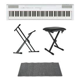 YAMAHA P-125WH ホワイト 電子ピアノ キーボードスタンド キーボードベンチ ピアノマット(グレイ)付きセット