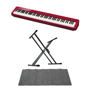 CASIO Privia PX-S1000 RED 電子ピアノ キーボードスタンド ピアノマット(グレイ)付きセット