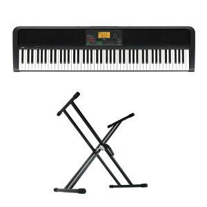KORG XE20 DIGITAL ENSEMBLE PIANO 88鍵盤 自動伴奏機能付き 電子ピアノ キーボードスタンド 2点セット [鍵盤 Aset]