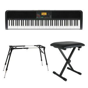 KORG XE20 DIGITAL ENSEMBLE PIANO 88鍵盤 自動伴奏機能付き 電子ピアノ キーボードスタンド キーボードベンチ 3点セット [鍵盤 Eset]