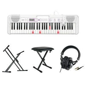 CASIO LK-315 61鍵盤 光ナビゲーション キーボード キーボードスタンド キーボードベンチ ヘッドホン 4点セット [鍵盤 Cset]