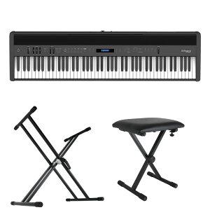 ROLAND FP-60X-BK Digital Piano ブラック デジタルピアノ キーボードスタンド キーボードベンチ 3点セット [鍵盤 Bset]