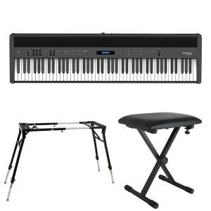 ROLAND FP-60X-BK Digital Piano ブラック デジタルピアノ キーボードスタンド キーボードベンチ 3点セット [鍵盤 Eset]