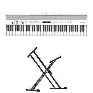 ROLAND FP-60X-WH Digital Piano ホワイト デジタルピアノ キーボードスタンド 2点セット [鍵盤 Aset]