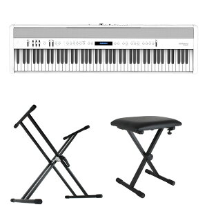 ROLAND FP-60X-WH Digital Piano ホワイト デジタルピアノ キーボードスタンド キーボードベンチ 3点セット [鍵盤 Bset]