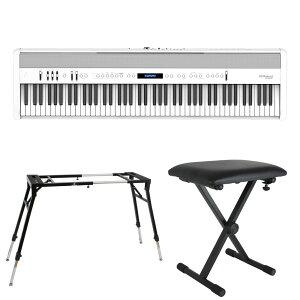ROLAND FP-60X-WH Digital Piano ホワイト デジタルピアノ キーボードスタンド キーボードベンチ 3点セット [鍵盤 Eset]