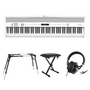 ROLAND FP-60X-WH Digital Piano ホワイト デジタルピアノ キーボードスタンド キーボードベンチ ヘッドホン 4点セット [鍵盤 Fset]