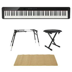 CASIO Privia PX-S1100 BK 電子ピアノ 4本脚型キーボードスタンド キーボードベンチ ピアノマット(クリーム)付きセット