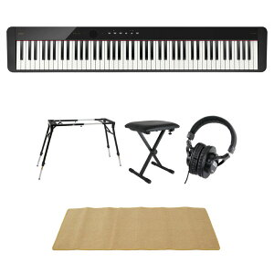 CASIO Privia PX-S1100 BK 電子ピアノ 4本脚型キーボードスタンド キーボードベンチ ヘッドホン ピアノマット(クリーム)付きセット