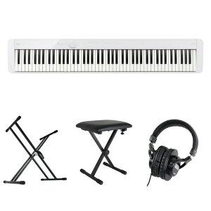 CASIO Privia PX-S1100 WE 電子ピアノ キーボードスタンド キーボードベンチ ヘッドホン 4点セット [鍵盤 Cset]