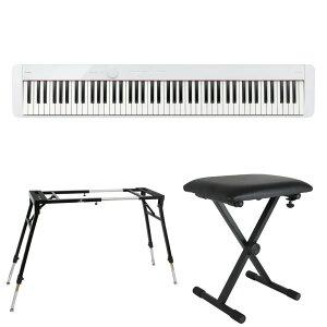 CASIO Privia PX-S1100 WE 電子ピアノ キーボードスタンド キーボードベンチ 3点セット [鍵盤 Eset]