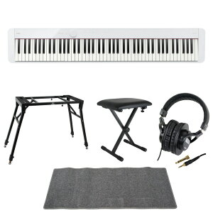 CASIO Privia PX-S1100 WE 電子ピアノ スタンド ベンチ ヘッドホン マット 5点セット [鍵盤 LMset]