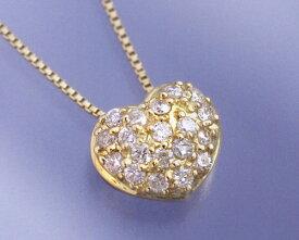 4月誕生石ネックレス ダイヤモンド0.2ct パヴェ ハート ネックレス ペンダント【K18イエローゴールド(K18YG)】【送料無料】国産 日本製/製造オーダー品 約20日間納期【コンビニ受取対応商品】