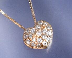 4月誕生石ネックレス ダイヤモンド0.2ct パヴェ ハート ネックレス ペンダント【K18ピンクゴールド(K18PG)】【送料無料】国産 日本製/製造オーダー品 約20日間納期【コンビニ受取対応商品】