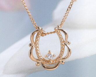 Classic race April birth stone diamond lucky Horseshoe ( Horseshoe ) necklace pendant