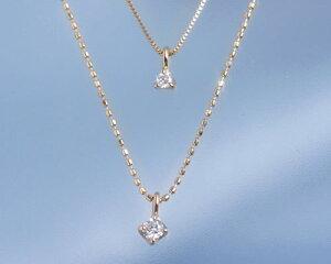 4月の誕生石☆ダイヤモンド0.07ct+0.03ctK10PG2連ネックレスエクラデコール