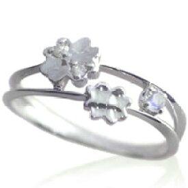 ピンキーリング 6月誕生石 ムーンストーン ダイヤモンド K10ホワイトゴールド K10WG 指輪 重ねづけ風 2連風 リングサイズ マイナス号数対応 0号 1号 2号 3号 4号 5号 6号から9号「ピュア・クローバー」/製造オーダー品 約20日間納期
