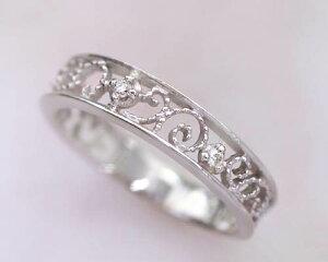 ピンキーリングダイヤモンド4月誕生石透かしツタの葉10kK10ホワイトゴールド(K10WG)指輪リングサイズ0号1号2号3号4号5号6号から9号送料無料