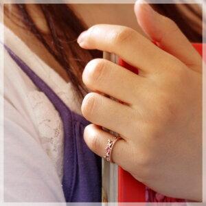 ピンキーリングピンクトルマリン10月誕生石ダイヤモンド0.02ctK10ピンクゴールドティアラ指輪リングサイズ0号1号2号3号4号5号6号から9号ユワイエット送料無料国産日本製モデル