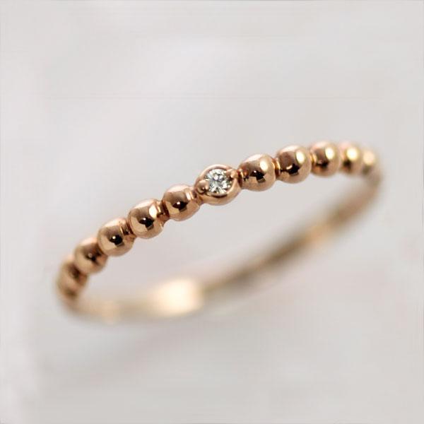 ピンキーリング 18k ピンクゴールド ダイヤモンド0.01ct 4月誕生石 シンプル 10金/18金 K10PG/K18PG 指輪 リングサイズ 0号 1号 2号 3号 4号 5号 6号から9号「トゥルー・テネリータ」/製造オーダー品 約20日間納期