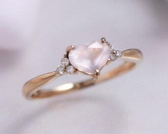 """Rose Quartz and diamond heart ring ( ring ) """"love skull"""""""