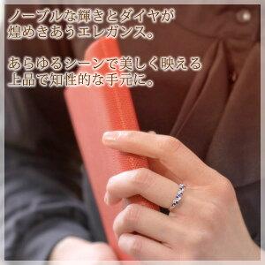大きいサイズ指輪【プラスサイズリング】15〜23号ブルーサファイアダイヤモンド(0.18ct)レディースリング10k/18kホワイトゴールド(K10/K18WG)10金18金「ルアーナ」送料無料国産日本製モデル