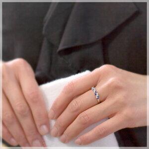 【プラスサイズリング】ブルーサファイアダイヤモンド4石(0.18ct)リング(指輪)【K10/K18ホワイトゴールド(K10/K18WG)】「ルアーナ」【送料無料】【楽ギフ_包装】【smtb-tk】