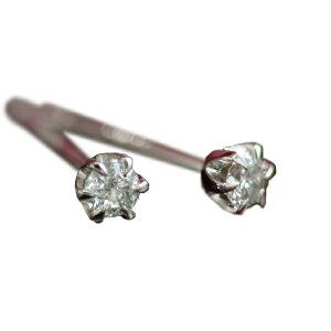 ダイヤモンド0.1ct ティファニー・セッティング(立爪)スタッド ピアス K18ホワイトゴールド 18k 18金 レディース 天然ダイアモンド 一粒石 ファーストジュエリー 両耳用 仕事用 誕生日プレゼ