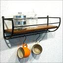 【送料無料】 タオルハンガー付き ウォールシェルフ アイアン 木製 壁掛け棚 タオルハンガー タオル掛け スパイスラッ…