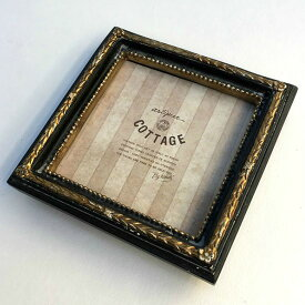 【メール便対応可】 アンティーク フォトフレーム スクエア ブラック アンティークゴールド ブラック 写真立て 写真たて フォトスタンド フレーム 雑貨 レトロ シャビー 正方形 シャビー PS