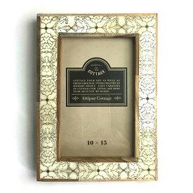 【メール便対応可】 ウッド&ボーン フォトフレーム アラベスク 壁掛け 写真立て 写真たて フォトスタンド フレーム 水牛の骨 バッファロー ボーン 木製 ウッド 四角形 長方形 ナチュラル ヴィンテージ ビンテージ お洒落 おしゃれ プレゼント ギフト