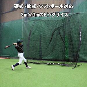 野球 バッティングネット 硬式 軟式 ソフトボール対応 3m×3m ビッグサイズネット 専用収納ケース付き FBN-3030 フィールドフォース 野球 ネット ティーバッティング バッティング練習 器具ポイ