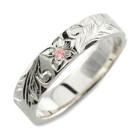 【10%OFF】 メンズ ハワイアンジュエリー ピンクサファイア ハワイアン リング プラチナ pt900 ストレート ヒラウチ 誕生石 9月 彫金 手彫り 指輪 ハンドメイド プラチナ900 プルメリア 4mm ハワイ