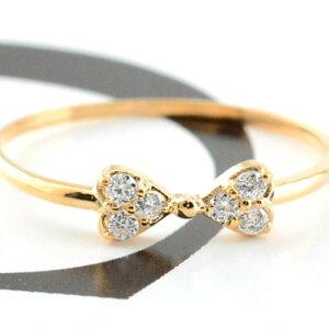 リボンリング ピンキーリング ダイヤモンド リボン ゴールド ダイヤモンドリング 指輪 ダイヤモンド ピンクゴールド k10 ダイヤ 10k レディース