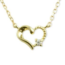 ネックレス ダイヤモンド k10 ハート レディース イエローゴールド ハートモチーフ 1粒 ペンダント ゴールド ダイヤ 10k 10金 華奢 記念 誕生日