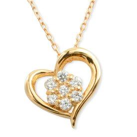 ネックレス ダイヤモンド k10 ハート レディース ピンクゴールド ハートモチーフ セブンストーン ペンダント ゴールド ダイヤ 10k 10金 華奢 記念 誕生日
