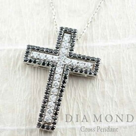 ネックレス メンズ クロス ダイヤモンド ブラックダイヤ ペンダント ホワイトゴールド k18 クロス 1.02ct リバーシブル 18k ダイヤ ゴージャス ダイヤネックレス ペンダント 十字架 プレゼントに 【送料無料】 サマー