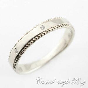 婚約指輪 結婚指輪 ブライダル レディース ダイヤモンドリング ピンキーリング 指輪 地金 シンプル 平打ち ミル打ち プラチナ 900 アンティーク