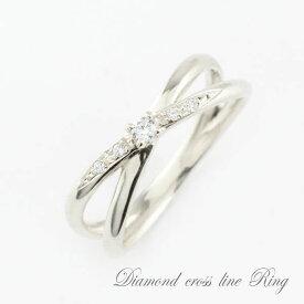 ダイヤモンド シルバー925 エンゲージリング リング ダイヤリング クロスライン クロス ストレート シンプル 指輪 重ねづけ ピンキーリング 指輪 ダイヤモド ダイヤ sv925