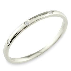 K18 18金 ダイヤモンド ホワイトゴールド 18k シンプル リング 指輪 ピンキーリング 甲丸 レディース スリーストーン ゴールド 華奢 重ねづけ シンプル 誕生石 おしゃれ ストレート