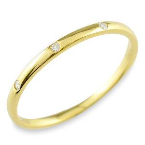 K18 18金 ダイヤモンド 18k シンプル リング 指輪 ピンキーリング 甲丸 レディース スリーストーン ゴールド 華奢 重ねづけ シンプル 誕生石 おしゃれ ストレート