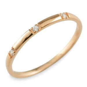K18 18金 ダイヤモンド 18k ピンクゴールド シンプル リング 指輪 ピンキーリング 甲丸 レディース スリーストーン ゴールド 華奢 重ねづけ シンプル 誕生石 おしゃれ ストレート