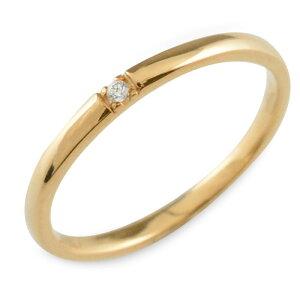 K18 18金 ダイヤモンド 18k ピンクゴールド シンプル リング 指輪 ピンキーリング 甲丸 レディース ゴールド 華奢 重ねづけ シンプル 誕生石 おしゃれ ストレート
