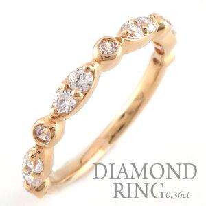 婚約指輪 結婚指輪ダイヤモンド リング k18 レディース ダイヤモンドリング ピンキーリング 18金 指輪 ダイヤモンド 0.36ct ピンクゴールドk18 ダイヤ